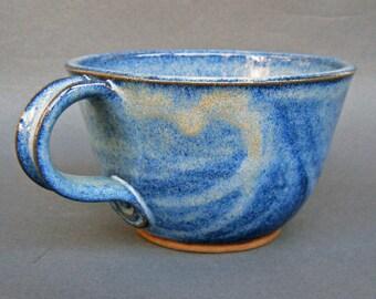 Deep Sided Soup Chili Bowl Handle Large Size Cobalt Blue