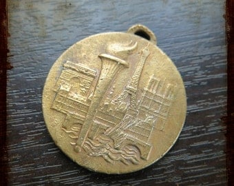 Vintage French Large Medallion with Paris Monuments - Tower Eiffel and Arc of Triumph Jewelry pendant from France