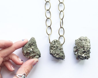Statement Pyrite Necklace - large crystal and brass chain - each one different