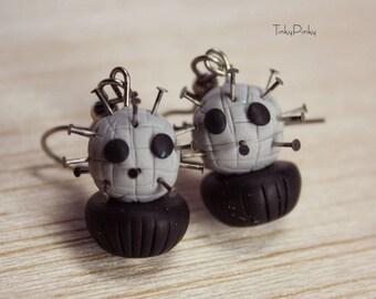 Halloween Pinhead cupcake earrings