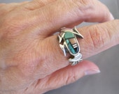 RESERVED 4 ELYSE:  Vintage Sterling Turquoise Coral Onyx MOP Corn Zuni Ring