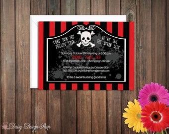 Birthday Party Invitations - Pirate Skull and Crossbones - Set of 20 with Envelopes