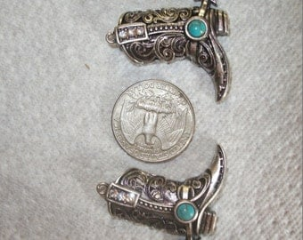 Antique silver swirl cowboy boot charms