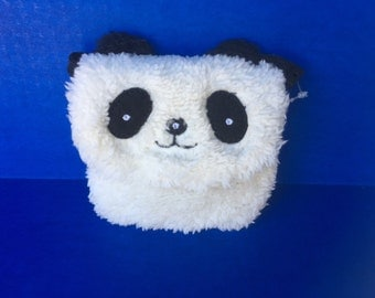 Panda fluffy small bag pouchette, velcro clasp with leash