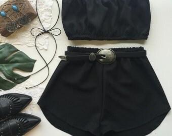Black matching set festival set fashion twin set crop tube top high waisted shorts