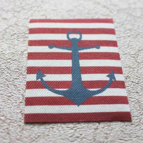 Anchor Rugs: Miniature Nautical Rug Blue Anchor And Red White Stripes For