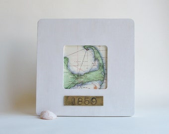 Cape Cod Massachusetts Old Nautical Map Framed with Hand Stamped Date on Brass Travel Vacation Hostess Gift