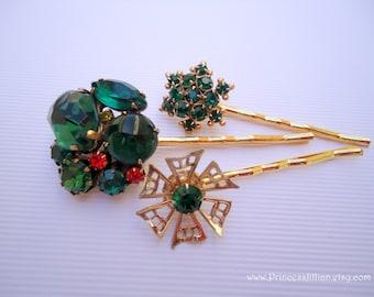 Vintage earrings hair bobbies - Forest emerald dark green starburst gem bauble cluster gold filigree rhinestone jeweled fun hair accessories