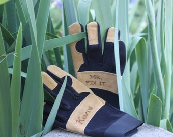 Father's Day Tool Personalized Leather Work Grip Gloves, Custom Men's Gloves, FATHER'S DAY gloves