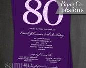 Printable Purple Damask Birthday Invitation - Digital File ONLY