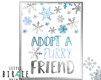 Winter onederland first birthday decorations sign - Adopt a furry friend - Boy Blue and Silver Winter onederland Party Favor Sign