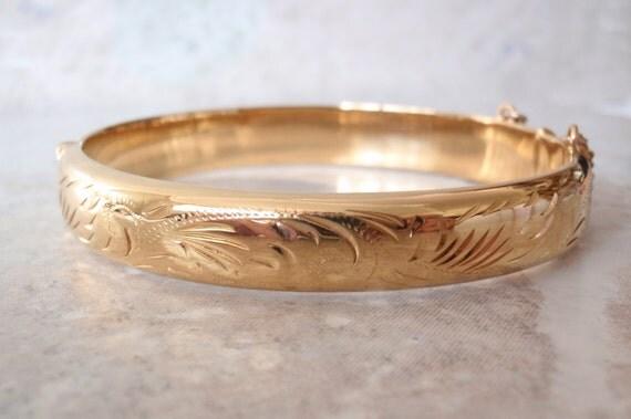 Rolled Gold Bangle 18K Hinged Bracelet Made in England Denise