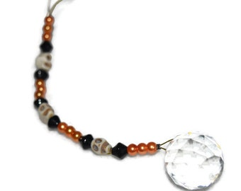 Skeleton Crystal 20mm Sun Catcher Ornament Orange and Black beads for Rainbows Feng Shui