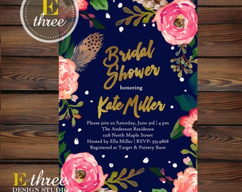 Navy, Gold and Pink Bridal Shower Invitations - Flowers and Feathers - Wedding Shower Invitation - Gold Foil