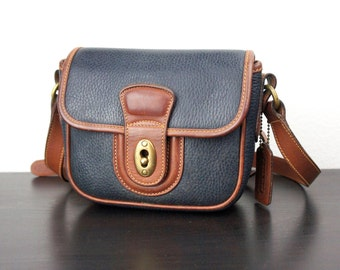 Vintage Coach Sheridan Mini Cross body Bag, Navy and Brown Leather, Small Cross Body Purse, Small Messenger 1990s Made in Italy 040367