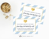 Bring a Book Instead of a Card, Books for Baby Card, One Tiny Request, Book Insert Card, Baby Shower Card Baby Blue Gold Book Card Printable