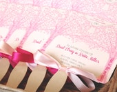 Pink Garden Tree Wedding Fan Program **Front and Back Sides Fully Customized**