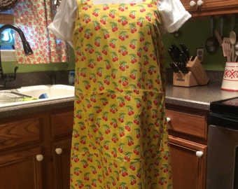 Large Japanese style utility apron, Yellow with Cherries print cross back apron, no ties, pinafore, smock