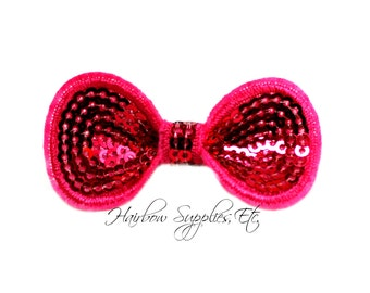 Fuchsia Sequin Round Bow 2-1/4 inch - Fuchsia Bow Applique, Hot Pink Mini Sequin Bow, Shocking Pink Glitter Bow - Hairbow Supplies, Etc.