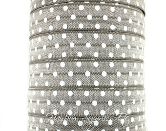 Gray Polka Dot Fold Over Elastic Choose 1, 5 or 10 yards  5/8 inch FOE - Shiny for Headbands Hair Ties Hairbow Supplies, Etc.