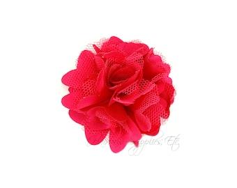 Fuchsia Silk Organza Petite Puff Flowers 2 inch - Fuchsia Flowers, Fuchsia Hair Flowers, Hot Pink Silk Flowers, Hot Pink Petite Flowers
