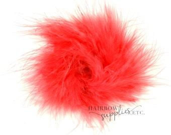 Coral Marabou Puffs 3 inch- Coral Marabou Puff, Coral Marabou Feather, Coral Marabou Feather Puff, Coral Hair Feather, Coral Ostrich Feather