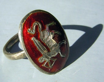 Vintage 70s Ring Sagittarius Zodiac Sign Red Ename on Sterling Silver CLEARANCE