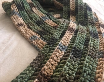 Green, brown, blue mixed color striped scarf