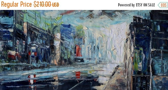 20% OFF ORIGINAL Painting Oil Painting art painting on canvas Palette Knife Blue Textured home decor wall hanging large painting impasto Mar