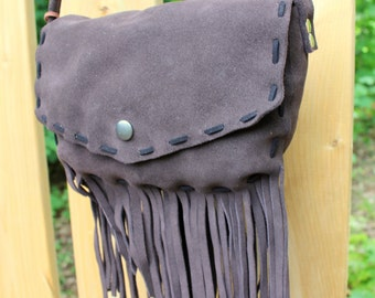 Brown Leather Fringe Purse - Fringe Crossbody Bag - Easter Gift Ideas for Her - Leather Purse - Ladies Purse - Boho Fringe Purse