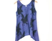 medium stormy blue violet hand dyed and printed cotton tank tunic with crow raven