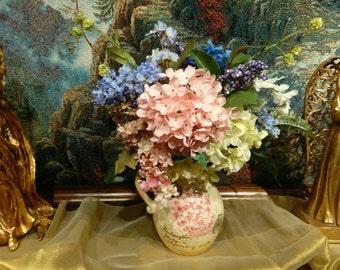 Custom Silk Floral Arrangement Centerpiece Hydrangea Summer mix in ceramic Pitcher Pink Blue Lime Soft Elegant by Cabin Cove Creations