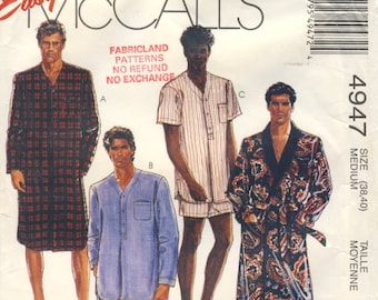 McCalls 4947 Today's Man Robe Nightshirt and Pajamas Medium Size (38 - 40)