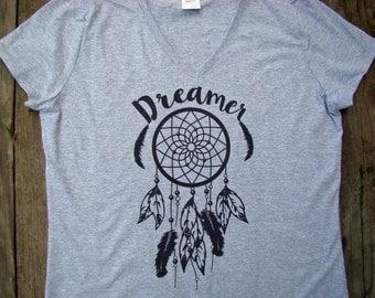 Dreamer Boho Chic tops and tees, dream catcher feather Ladies V neck, Sweet Bohemian life, gypsy shirt, Boho clothing