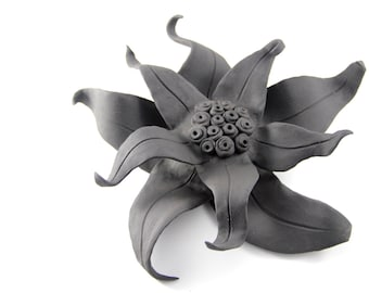 Black Clay Flower Wall Hanging - Sunflower/Poinsettia