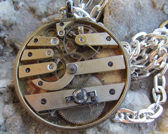 Steampunk Industrial Pocket Watch Movement Necklace A 40
