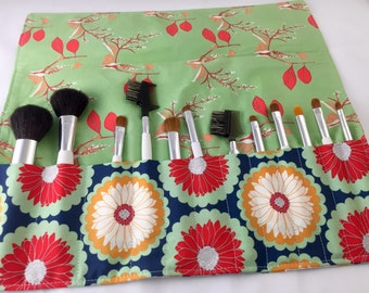 Makeup Brush Roll Holder -  Art Gallery Reminisce Enamored in Cranberry - Ready to Ship