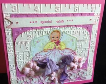 Baby girl card shabby chic handmade pink