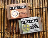 Craft beer soap duo - Aromaholic Black Label collection - Oatmeal Stout soap and Black IPA soap - organic handcrafted beer soap