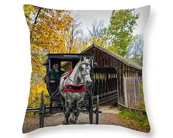 Amish Buggy and Horse crossing a Covered Bridge in Autumn No.03388 Country Rural Landscape novelty throw pillow Home Décor cushion cover