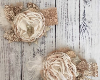 Gold sequin headband cozette couture