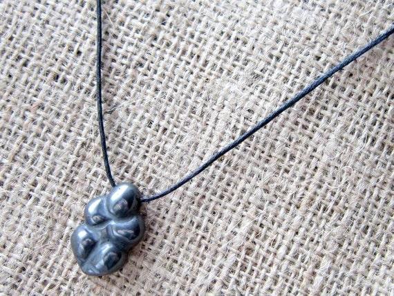 Haematite Gaia Goddess Cord Necklace ~ Hematite Crystal Gaea Pagan Wiccan