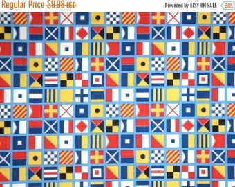 ON SALE Colorful Nautical Flags Print Pure Cotton Fabric--One Yard