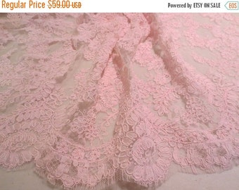 """ON SALE Rosy Pink Delicate Floral Design French Alencon Lace Trim 16"""" wide--One Yard"""