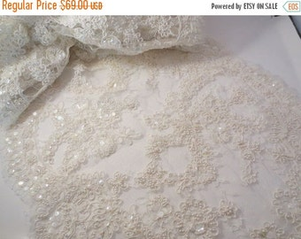 "ON SALE Ivory Delicate Beaded French Alencon Bridal Lace Trim 16""--One Yard"
