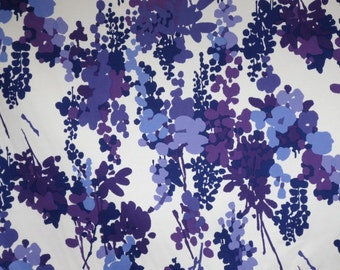 Shades of Purple Elegant Floral Print Stretch Cotton Sateen Fabric--One Yard