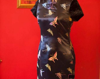 Cheongsam Satin Black Butterfly Dress