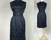 50s Cheongsam / Vintage 1950s Black Cheongsam / Vintage 1950s Wiggle Dress / Vintage 50s Cheongsam / 50s Wiggle Dress / Vintage Wiggle Dress
