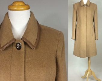 Vintage COACH Coat / Vintage Wool COACH Coat / Classic COACH Coat with Leather Trim / Iconic Coach Coat