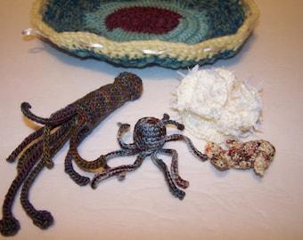 Coral reef ocean life play set quiet toy in squishy wool